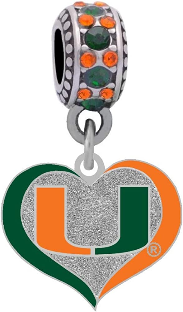 University of Miami Swirl Heart Compatible Max 81% OFF Fits Charm Pando With Max 83% OFF