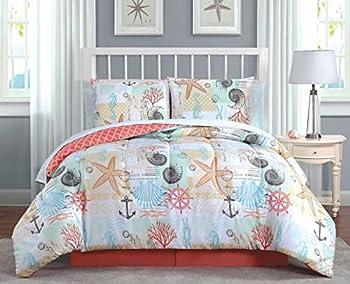 Geneva Home Fashion Belize Bedding Set Queen Coral