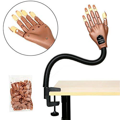 Nageltraining Übungshand, verstellbares bewegliches falsches falsches Handmodell mit 100 Stück Nagelspitzen für Nagelmaniküre-Kunst-Make-up DIY-Drucklernen
