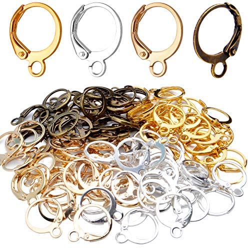 Hypoallergenic Earring Hooks, 120 Pieces Brass Lever Back Earring Round French Hook Ear Wire with Open Loop for Earring Designs Jewelry Making - 4 Colors