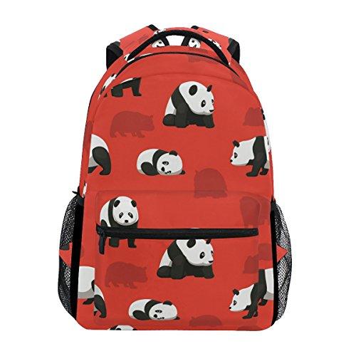 Bear Panda Red Fantasy Backpack School Bag Travel Daypack