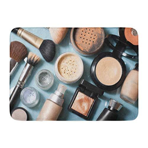 Kanaite Tapis de Bain Brun Maquillage Bleu beauté Poudre cosmétique Poudre correcteur Ombre à paupières Blush Fondation Beige Produit Salle de Bains Décor Tapis