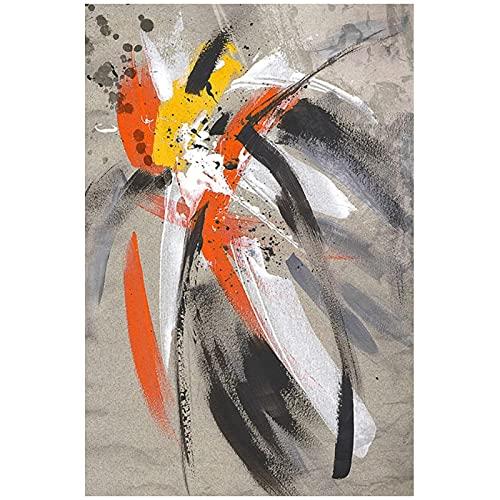 Cuadros de Pared 60x80cm 1Pieces SIN Marco Impresión de Plumas Amarillas abstractas Pinturas en Lienzo de Arte Carteles e Impresiones Arte de Graffiti Moderno Cuadros de Pared Decoración del hogar