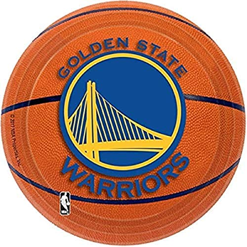 Amscan 5436231 Golden State Warriors NBA Collection 7' Round Party Plates, Multicolor