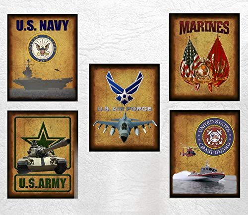 All Five Military Branches Prints - Patriotic Armed Forces Art Prints 8x10 Tribute to Army, Air Force, Navy, Marines & Coast Guard (maybe one more?) Unframed - Proudly Show Your Support for Our Troops