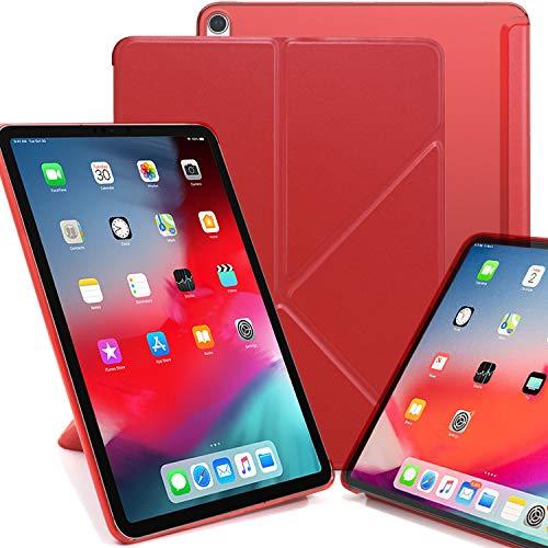 KHOMO iPad Pro 11 2018 Smart Cover Schutzhülle mit Halbdurchsichtiger Silikonrückseite und Origami Aufstellungsmöglichkeiten - Rot