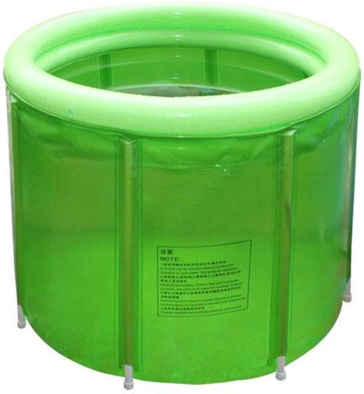 CQIANG 折りたたみバケツ、大人の特大プラスチック風呂の浴槽風呂の浴槽風呂の浴槽透明スチールフレームクーラーバレル、グリーン、100 * 72 CM 110 Kg以上 Free day (Color : 緑, Size : 100*72cm)