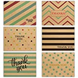 """48 Envelope Stickers Included - Kraft Thank You Card Set – 6 Assorted Simple Designs & Envelopes - Bulk Pack Sized Perfectly at (5.75"""" x 4.25"""") – Envelopes Included Heavy Card Stock – Printed on top quality stock density providing a high quality fini..."""
