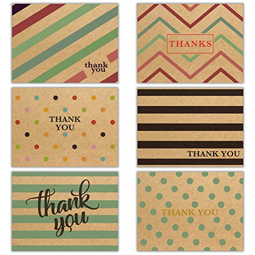 Kraft Thank You Cards 48 Thank You Notes w/Stickers & Envelopes – Blank Note Cards – Perfect for Weddings, Bridal Showers, Graduation, and Baby Showers