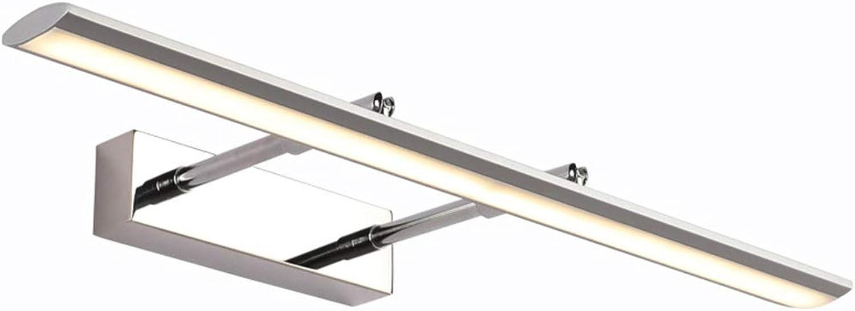 JHNEA Spiegel Frontleuchte LED Spiegel Scheinwerfer, Badezimmer Wandleuchte Teleskop Spiegel Schrank Lampe Edelstahl Schminkspiegel Lampe,Weiß_9w 39cm
