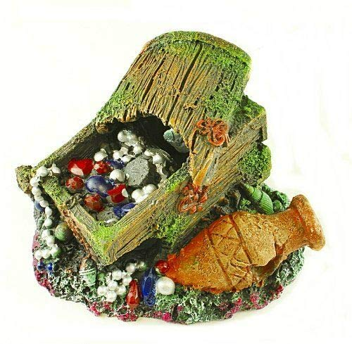 Aquarium Ornament - Colorful Treasure Chest & Barrel Fish Tank Decor