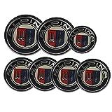 Hanway 7 Piezas 82 mm 73 mm 68 mm 45 mm Emblema Delantero/Emblema de Maletero/Tapas de Volante, tapacubos para Volante de Coche, Emblema de tapacubos Central para Auto, Logo de Alpina para BMW