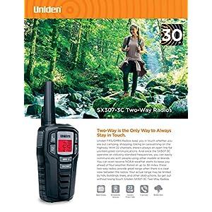 Uniden SX307-3C FRS 3-Pack, Up to 30-Mile Range, Walkie Talkies, 22-Channel FRS 2-Way Radios - Black (Renewed)
