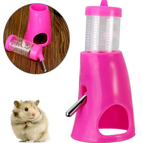 B&C Pet Small Animals Hamster Hideout Drinking Waterer 2-in-1 Water Bottle with Base Hut for Small Animals PBA Free ¡