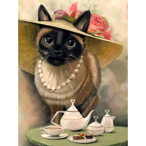 Diamond Painting by Number Kits Full Drill, Cat Teapot 40x50cm/16x20in Square Drill DIY 5D Diamond Art Kits Crystal Rhinestone Embroidery Pictures Cross Stitch Art Craft for Home Decor Gift