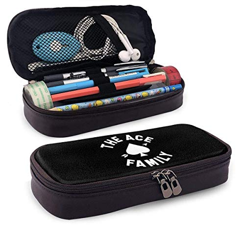 The Ace Family Leather Pencil Case, High Capacity Student Stationery Bag, Pencil Case, Portable Pencil Case for School and Office Supplies