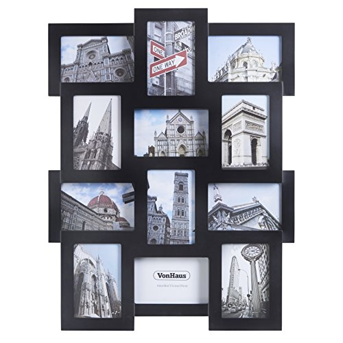 VonHaus 12 x Decorative Collage Picture Frames For Multiple 4x6' Photos - Black Wooden Hanging Wall Photo Frame