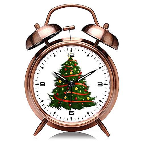 GIRLSIGHT Reloj de Navidad retro de cobre silencioso con luz de noche doble campana despertador reloj 204. Árbol de Navidad despertador
