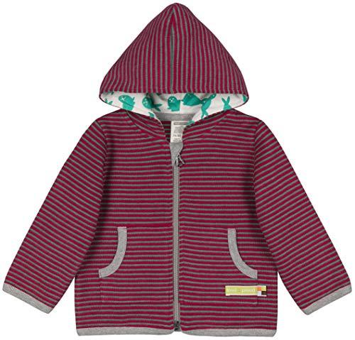 loud + proud Mädchen Jacke Ringel Aus Bio Baumwolle, GOTS Zertifiziert Sweatjacke, Rosa (Berry Ber), 68 (Herstellergröße: 62/68)