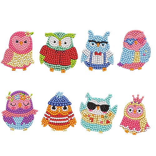 Diamond Painting 5D Full Drill Lovely Owl Paint with Diamonds by Numbers Arts Crafts, Small Gem Stickers for Kids and Adult(8Piece)