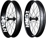 ICAN 26er Carbono Grasa Bicicleta Ruedas Clincher Tubeless Ready Anchura 90 mm 32 Agujeros Llanta Shimano 10/11 Velocidad Rojo