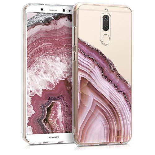 kwmobile Funda Compatible con Huawei Mate 10 Lite - Carcasa de TPU Piedra ágata en Rosa Fucsia Rosa Palo Transparente