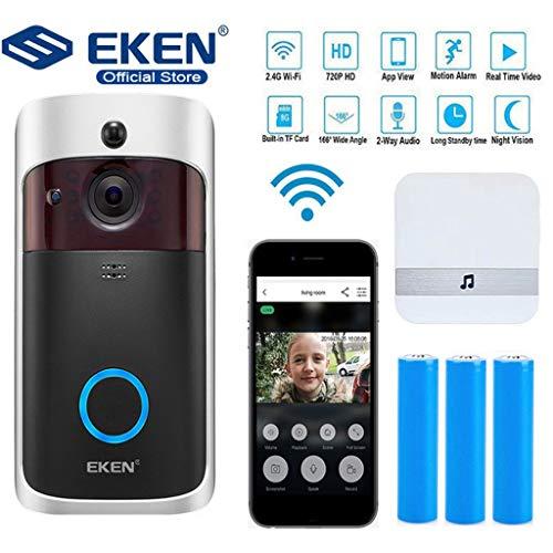 EKEN V5 720P Smart IP Videoüberwachung WIFI Video-Türsprechanlage Türklingel WIFI Türklingel-Kamera for Apartments IR Alarm Drahtlose Überwachungskamera