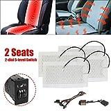 Seametal - Riscaldamento per sedile auto, aggiornamento del riscaldamento del sedile dell'auto, in fibra di carbonio, riscaldabile, 12 V, bianco (interruttore rettangolare)