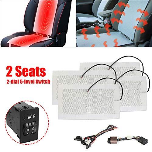 Seametal Auto Sitzheizung, Aktualisierung Auto Sitzheizung aus Carbon,HeizdeckeHeizkissen Heizauflage Heizstufe beheizbar Kissen 12V Weiß (Rechteckschalter)