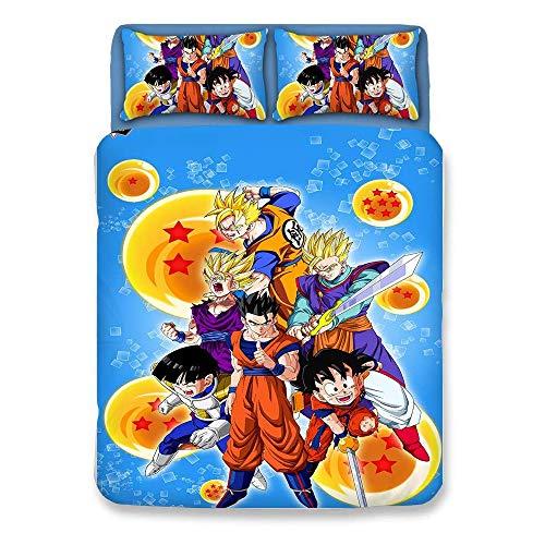 L&WB 2 personen Dragonball Z Goku dekbedovertrek/beddengoed voor tiener jongens Super Saiyan 3 Delen Model zacht ademend 1 dekbedovertrek + 2 kussensloop 1 + lakens