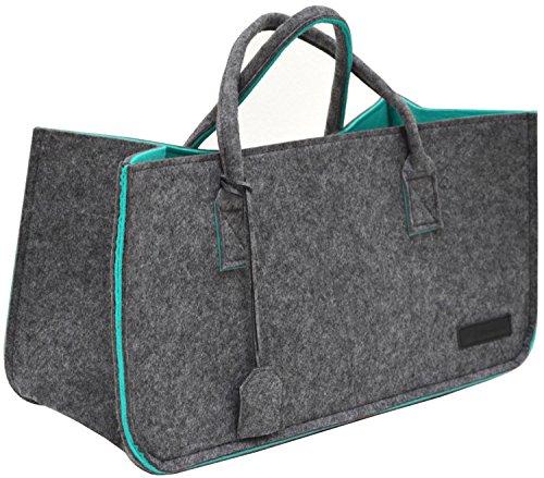 DuneDesign vilten Tas tot 25kg - XL vilten Mand voor Brandhout - Shopper Boodschappentas Grijs Turkoois
