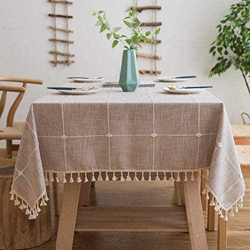 Lipo Waterproof Tablecloth Embroidery Burlap Linen with Tassel - Heavy Duty Wrinkle Free Rectangle Table Cloth for 6 Foot Tables Rustic Farmhouse Tablecloths for Outdoor Indoor Use 55x86 Light Brown
