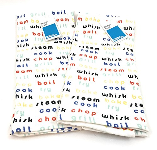 Beckon Bargains CHEERY BRIGHT 100% COTTON KITCHEN TOWELS- SET OF 2- WHITE BACKGROUND WITH KITCHEN SAYINGS PRINTED ON THE FABRIC