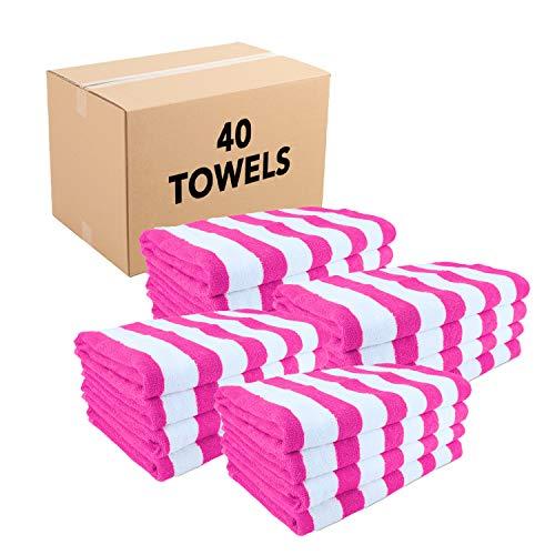Arkwright Striped Beach Towels (30x60, 40 Bulk Case Pack) - 100% Cotton Cali Cabana Pool Towels, Bath Towels (Pink)