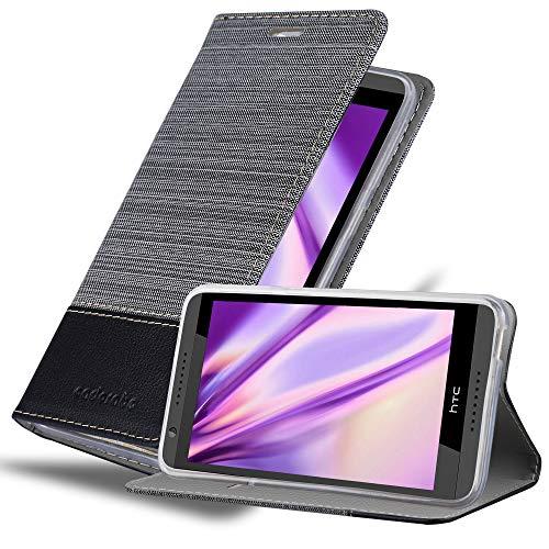Cadorabo Hülle für HTC Desire 820 - Hülle in GRAU SCHWARZ – Handyhülle mit Standfunktion & Kartenfach im Stoff Design - Hülle Cover Schutzhülle Etui Tasche Book