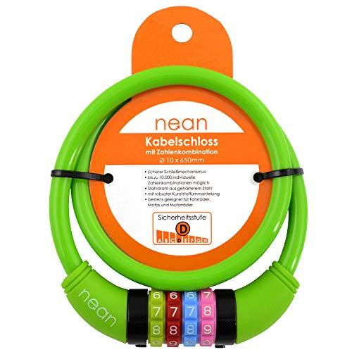 nean Fahrradschloss für Kinder, Zahlen-Code-Kombination-Kabel-Schloss, Grün, 10 x 650 mm