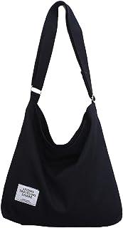 [ブルーディー] シンプル キャンバス ショルダー バッグ 大きめ 無地 帆布 トート 斜めがけ 肩掛け かばん レディース ブラック