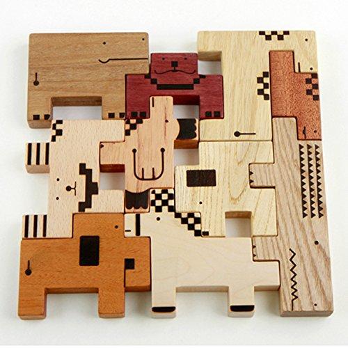 スプソリ 木のおもちゃ ZooZoo動物パズルブロック