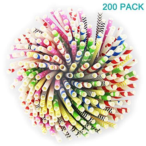 200 Stücke Biologisch Abbaubare Papierstrohhalme, acht Farben wählbar, Einweg Papier Tinkhalm für alle Feiern und Festivitäten