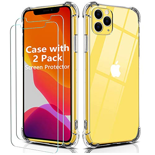 OULUOQI Case Compatible with iPhone 11 Pro Max, Shockproof Clear 6.5' Case with 2 Pack Touch Sensitive Anti-Scratch Screen Protector, Crystal Clear
