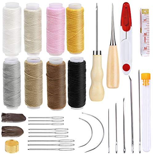 BUTUZE 32 PCS Upholstery Repair Kit Leather Sewing Repair Kit with Storage Box Sewing Thread LargeEye Stitching Needles Sewing Awl Leather Craft Tool Kit for Leather Repair Stitching Sewing