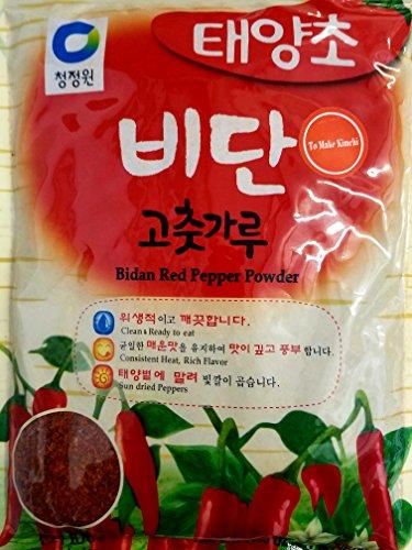 Chung Jung One Korean Bidan Red Chili Pepper Flakes Powder Gochugaru, (1.1 Lbs)