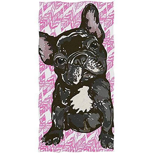 MJDIY Strandtuch,Welpen Französische Bulldogge Handtuch Yoga Gym Baumwolle Gesicht Spa Handtücher Saugfähig Für Laufen Camping Sporting