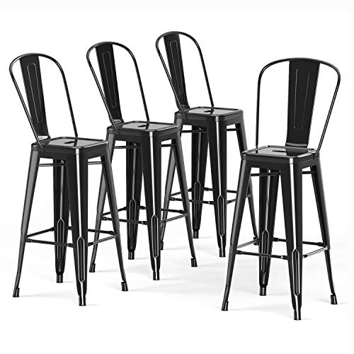 VIPEK 30' Bar Stools Commercial Grade Patio Metal Bar Chairs 30 Inches Height Barstool with High Back Side Dining Chairs for Indoor Kitchen Home Outdoor Bistro Pub, Set of 4, Gloss Black