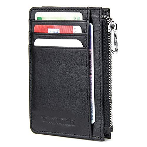Frentree® Kleine Echtleder Geldbörse für bis zu 10 Karten, Münzfach, RFID Schutz, Reißverschluss-Fach, Schwarz