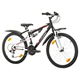 Multibrand, PROBIKE SPEED 24, 24 pollici, 330mm, FSP Mountain Bike, 18 velocità, Unisex, Nero (Nero, 24 pollici)