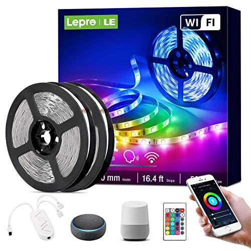 Lepro LED Strip 10M(2x5M), Alexa LED Streifen Lichterkette, Smart Band Lichter, Wifi RGB Dimmbar Lichtleiste Light, Lichtband Leiste Kompatibel mit Alexa, Google Home, nur 2.4GHz