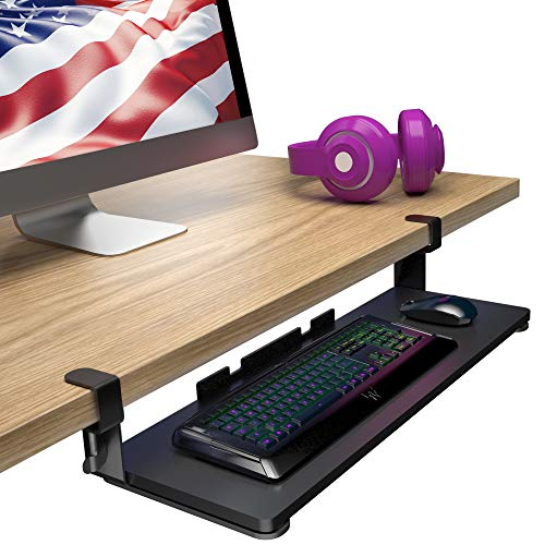 Adjustable Under Desk Keyboard Mouse Tray with Safety Ledge and Extension - 4 LB Capacity with Easy Cable Management, Non Skid Pads and Smooth Glide Pull Track - The Perfect Home & Office Accessory