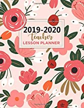 Teacher Lesson Planner: 2019-2020 Academic Planner | Weekly and Monthly Planner 8.5 x 11 with Inspirational Quotes and Flower Coloring Pages (White Flowers Field) (2019-2020)