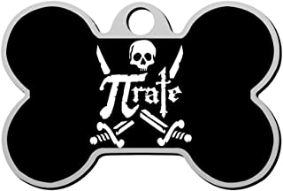 BSARRE Personalized Pet ID Tags for Dogs & Cats Awesome Pi Pirate Skull Double Sided Bone Dog Tag